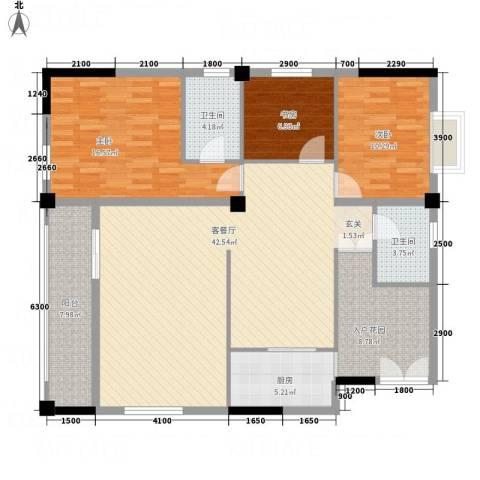 大地・潜龙山居3室1厅2卫1厨106.21㎡户型图