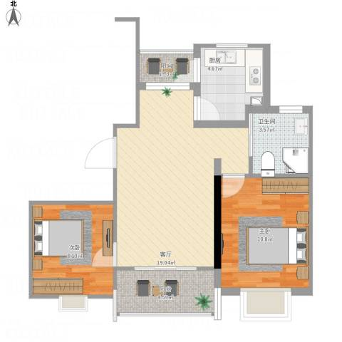 丰水宝邸西苑2室1厅1卫1厨74.00㎡户型图