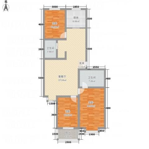 精良佳境3室1厅2卫1厨125.00㎡户型图