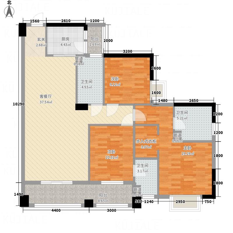 中业新城143.50㎡9幢04单元户型3室2厅3卫1厨