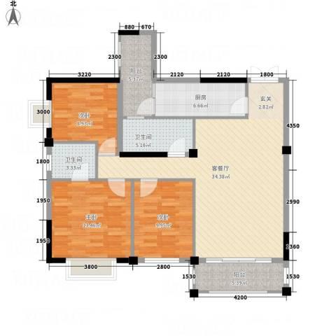 大地・潜龙山居3室1厅2卫1厨111.00㎡户型图