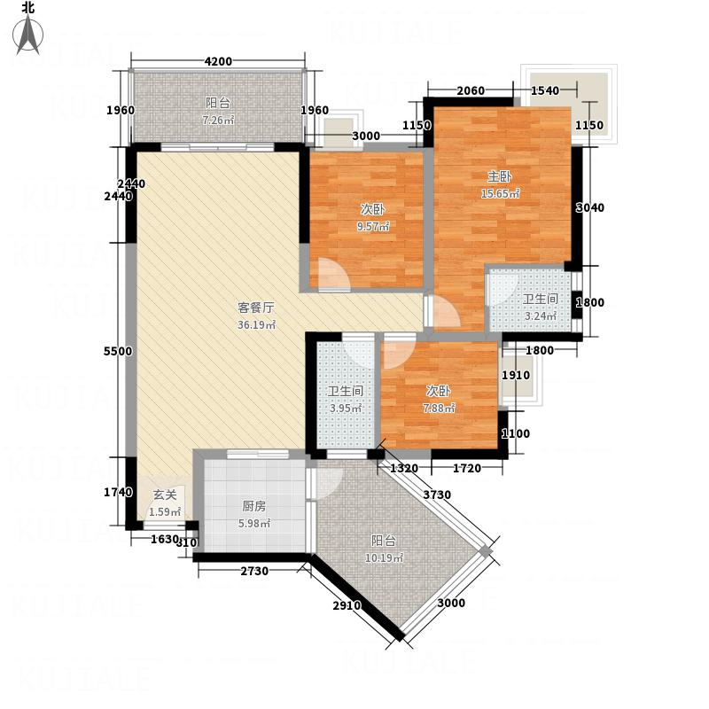 江南尚城11.30㎡B-1型户型3室2厅2卫1厨