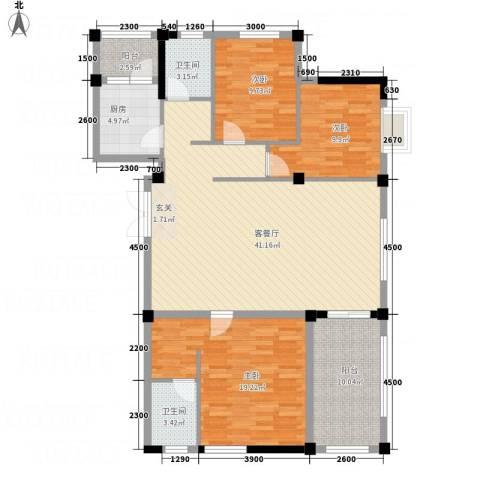 大地・潜龙山居3室1厅2卫1厨137.00㎡户型图