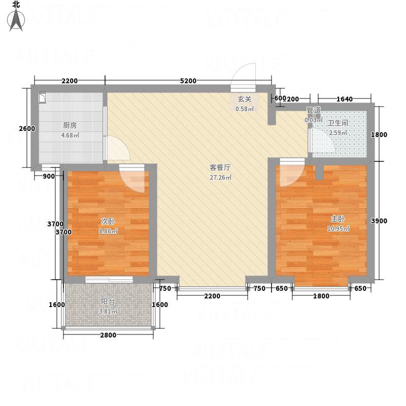 佳苑・领域8.18㎡户型2室2厅1卫1厨