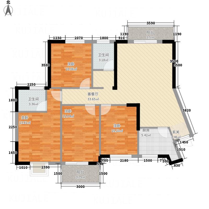 亿龙・福星城138.00㎡2-A户型4室2厅2卫1厨