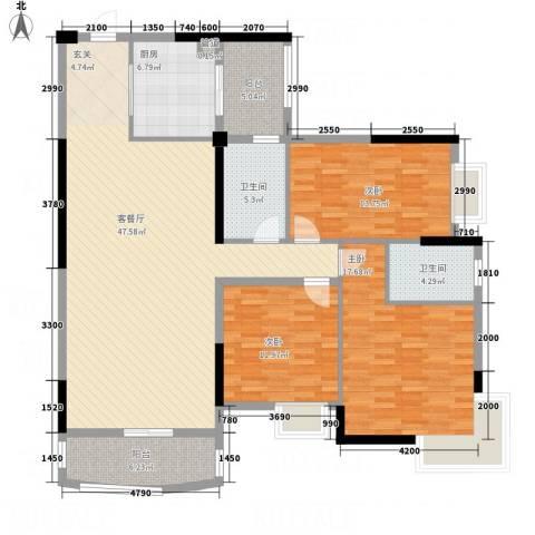 枫林水岸豪庭3室1厅2卫1厨166.00㎡户型图