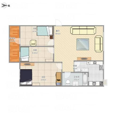 公交小区3室1厅1卫1厨114.00㎡户型图