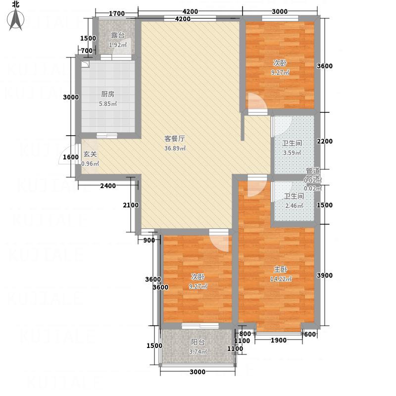 佳苑・领域12.00㎡户型3室2厅1卫1厨