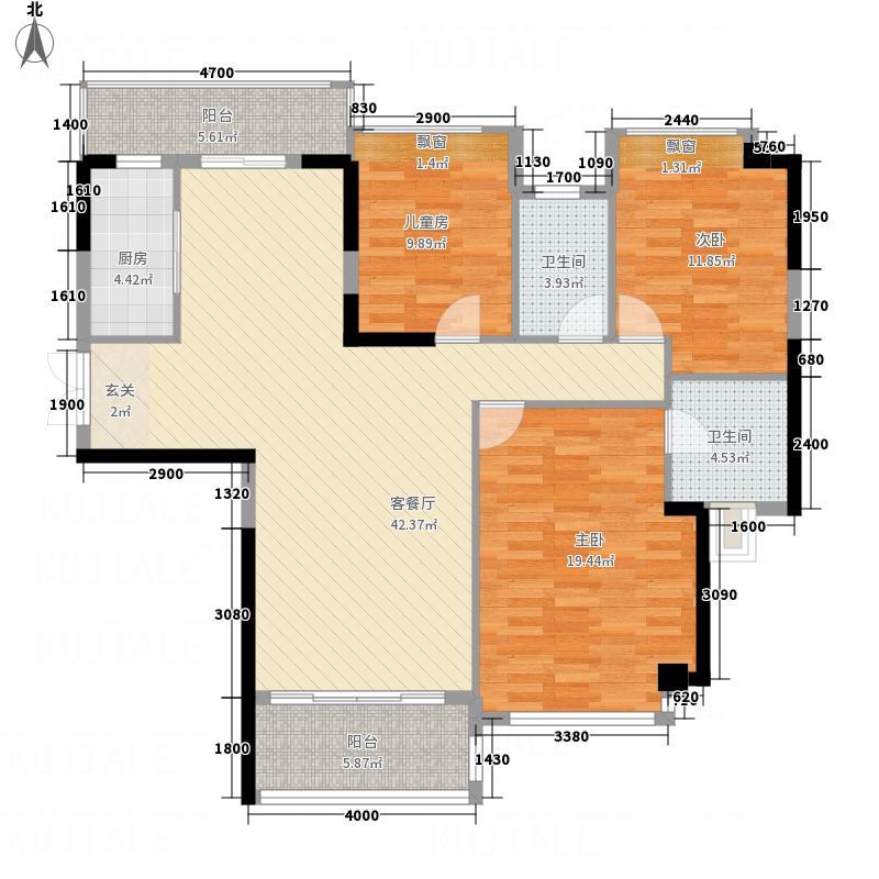 耀宝凯旋豪庭・锦公馆132.00㎡户型3室2厅2卫1厨