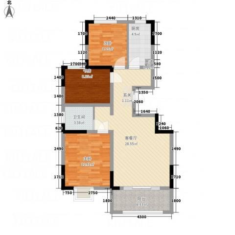 七里河・佳洲美地3室1厅1卫1厨73.49㎡户型图