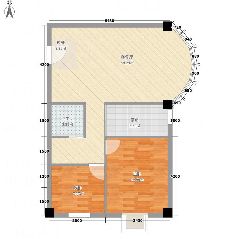 京中・翡翠城8.25㎡H户型2室2厅1卫1厨