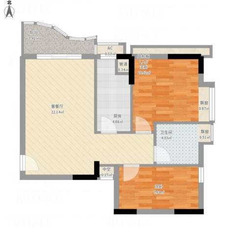 君华上域2室1厅1卫1厨79.00㎡户型图