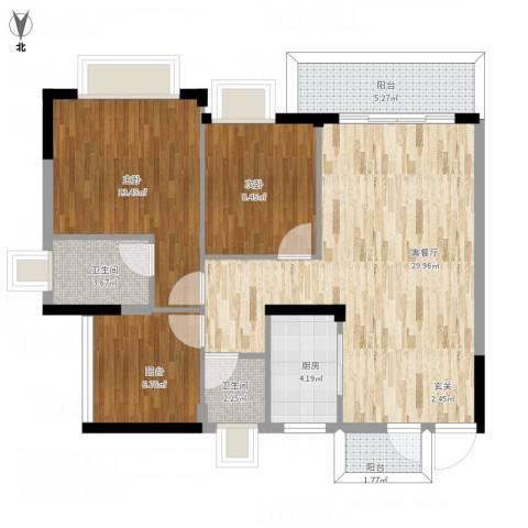 东逸湾花园2室1厅2卫1厨108.00㎡户型图