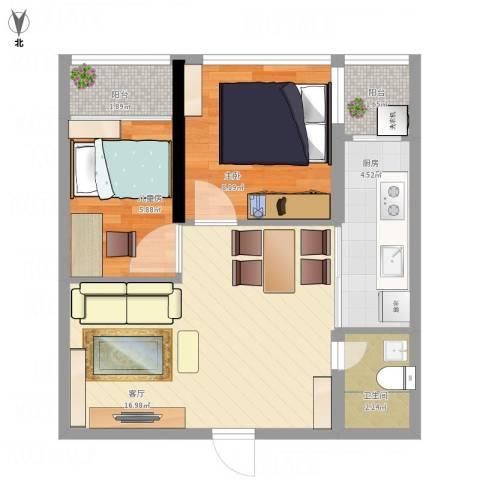 白金假日公寓2室1厅1卫1厨59.00㎡户型图