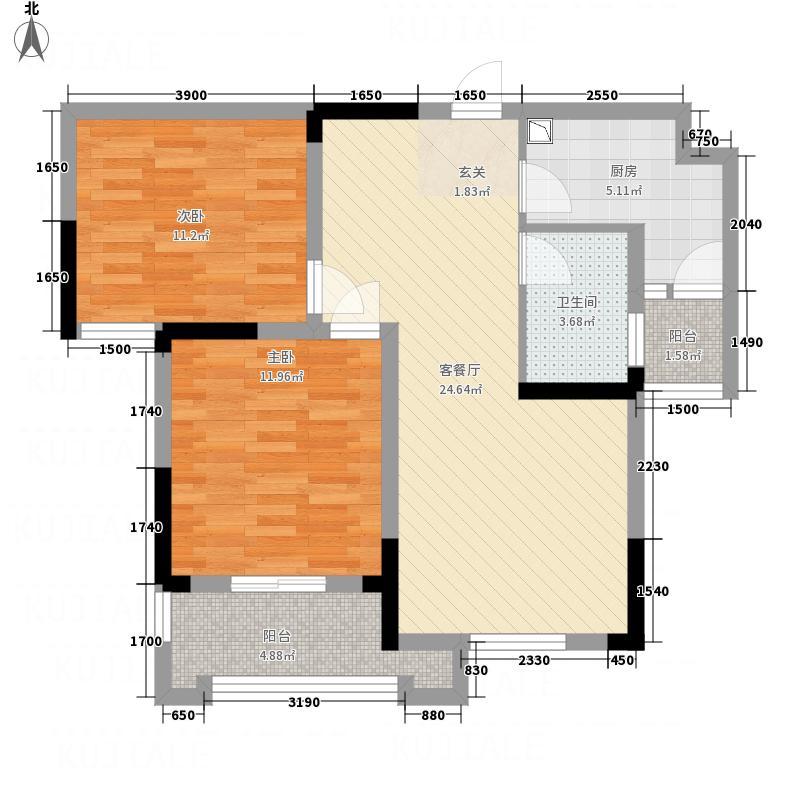 大华南湖公园世家8.00㎡B7、B8号楼F2户型2室2厅1卫1厨