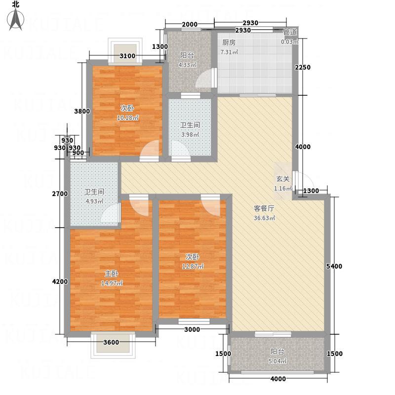紫金名苑11.00㎡11#、12#户型3室2厅2卫1厨