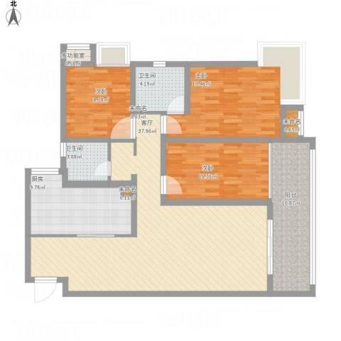 锦江半岛3室1厅2卫1厨146.00㎡户型图