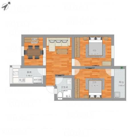 布店弄2室2厅1卫1厨85.00㎡户型图