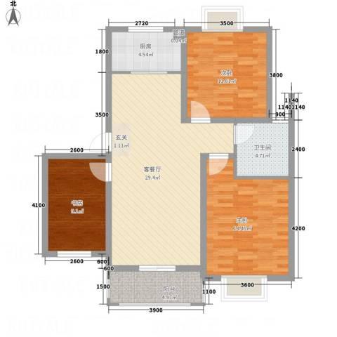 紫金名苑3室1厅1卫1厨78.83㎡户型图