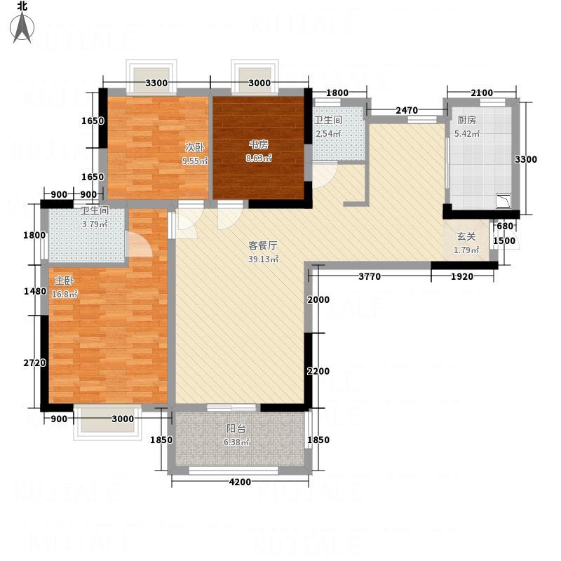 大华南湖公园世家13.00㎡B7、B8号楼C3户型3室2厅2卫1厨