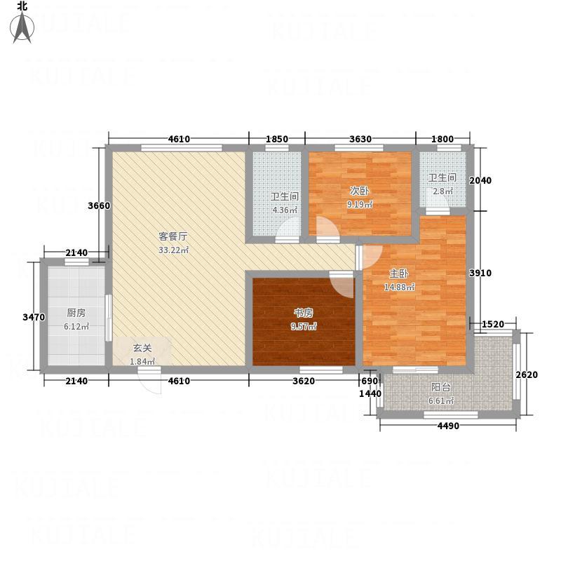 天悦中心125.23㎡1户型3室2厅2卫1厨