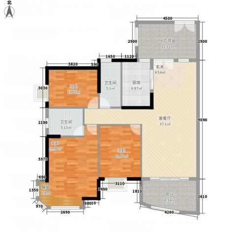 银地绿洲3室1厅2卫1厨143.00㎡户型图