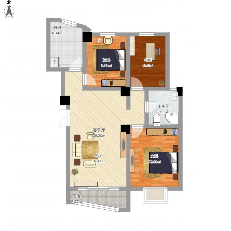 嘉峪关_阳光金水湾112.54平米三室两厅一厨一卫