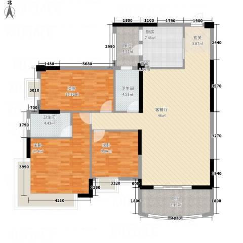 枫林水岸豪庭3室1厅2卫1厨162.00㎡户型图