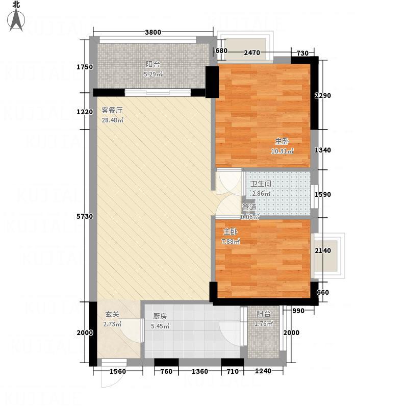 中业新城83.31㎡12幢03户型2室2厅1卫1厨