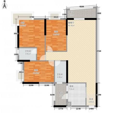 枫林水岸豪庭3室1厅2卫1厨131.00㎡户型图