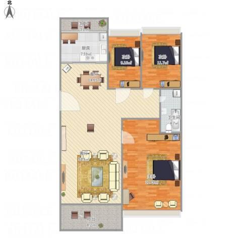 东海未名园3室1厅1卫1厨164.00㎡户型图