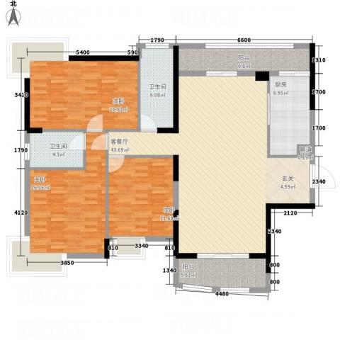 枫林水岸豪庭3室1厅2卫1厨155.00㎡户型图