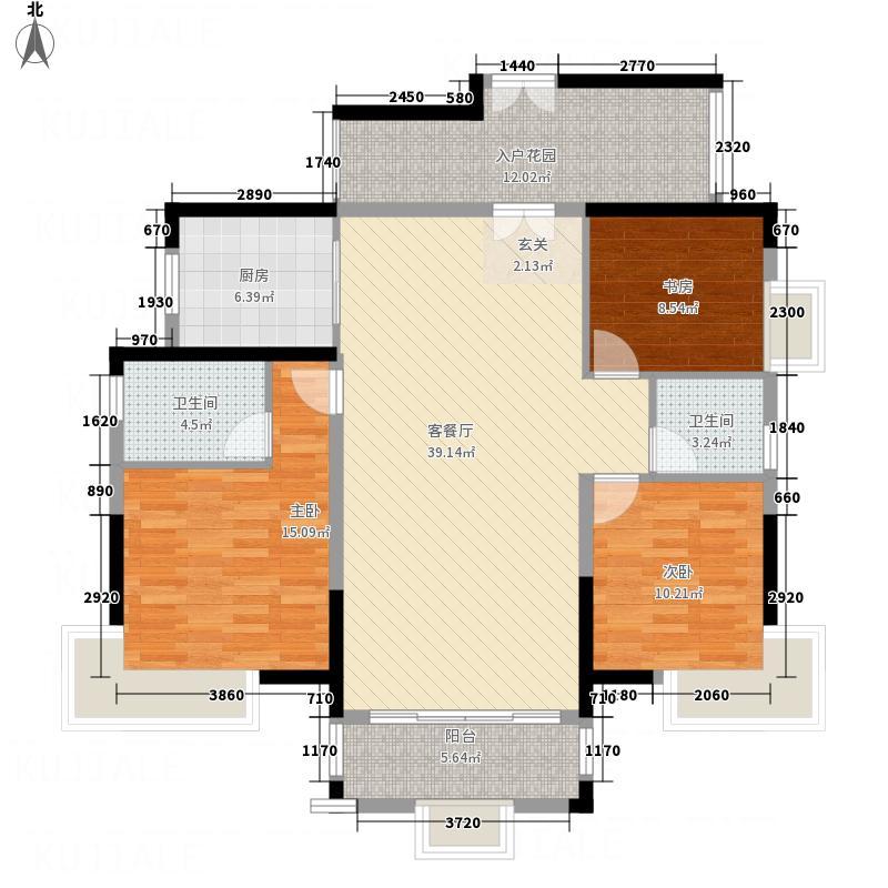 威雅・沿江半岛147.00㎡B-标准层01单元户型3室2厅2卫1厨