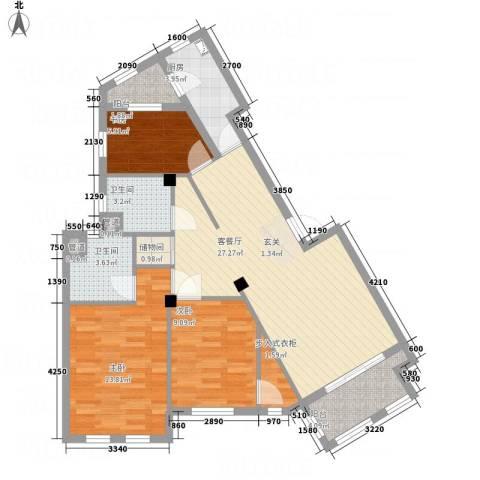 奥园印象高迪3室1厅2卫1厨88.00㎡户型图