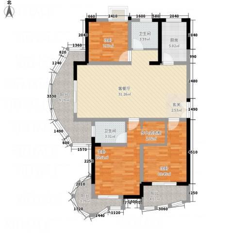 东方巴黎3室1厅2卫1厨138.00㎡户型图