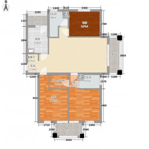 奥园印象高迪3室1厅2卫1厨97.00㎡户型图