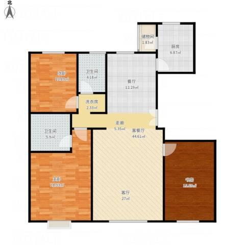 亿利城文澜雅筑3室1厅2卫1厨143.00㎡户型图