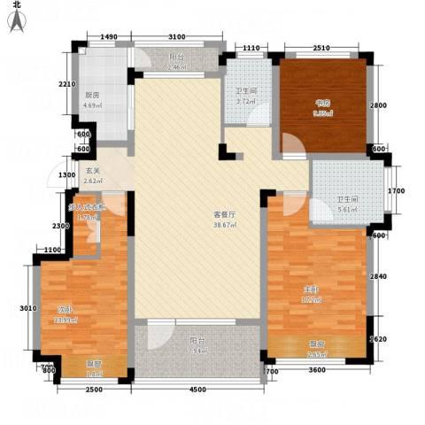海泉湾・霞光府3室1厅2卫1厨126.00㎡户型图