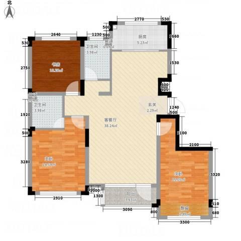海泉湾・霞光府3室1厅2卫1厨123.00㎡户型图