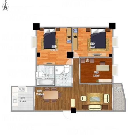 文屏山庄3室1厅2卫1厨90.00㎡户型图