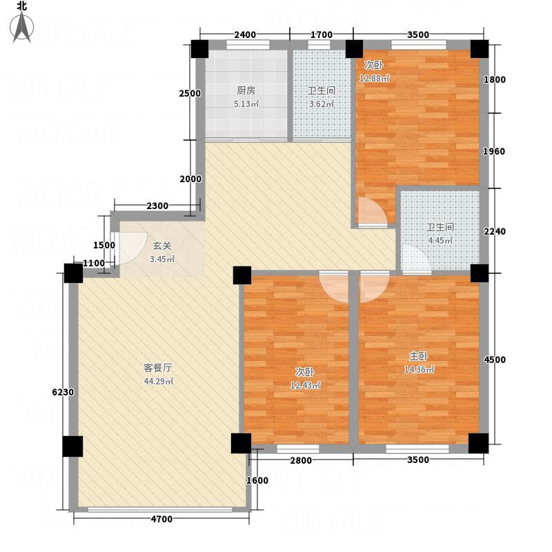 京中・翡翠城12.30㎡F户型3室2厅2卫1厨