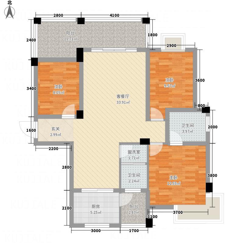 江南・花溪苑11.70㎡F户型3室2厅2卫