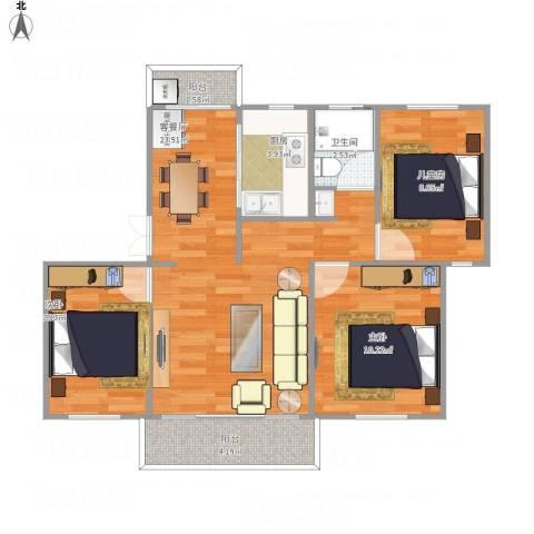 新洲花园3室1厅1卫1厨86.00㎡户型图