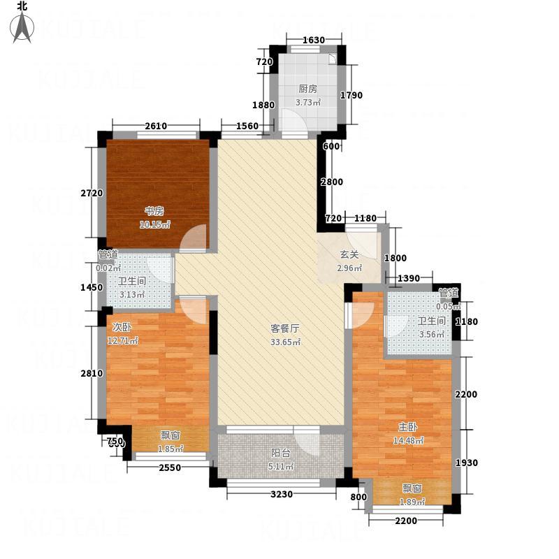 海泉湾・霞光府113.70㎡一期小高层户型3室2厅2卫1厨