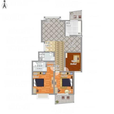 永大清华园3室1厅2卫1厨164.00㎡户型图