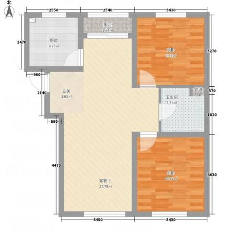国际花都三期2室1厅1卫1厨85.00㎡户型图