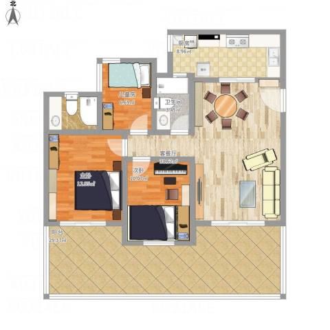 祈福新村康怡居3室1厅2卫1厨147.00㎡户型图