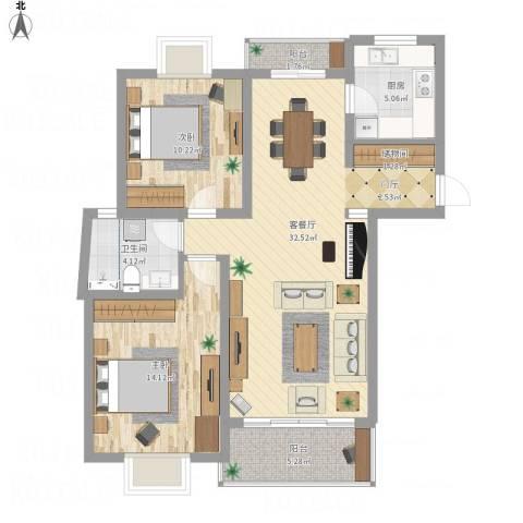 广洋苑二期2室1厅1卫1厨105.00㎡户型图