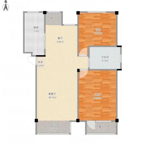万科上东区2室1厅1卫1厨112.00㎡户型图