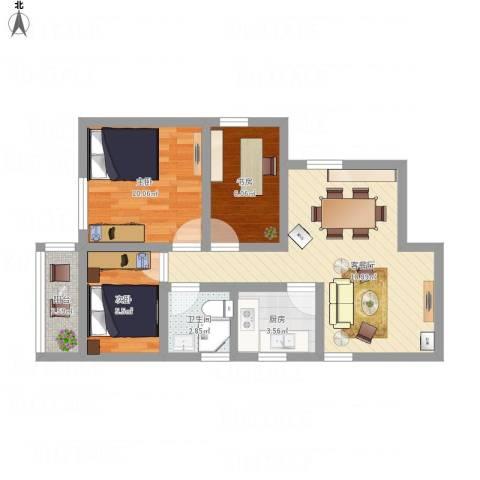 翡翠山河3室1厅1卫1厨74.00㎡户型图